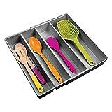 mDesign Organizador de cubiertos con 4 divisiones – Cuberteros extensibles para ordenar utensilios de cocina en cajones – Bandeja para cubiertos y para organizar diversos artículos – gris oscuro