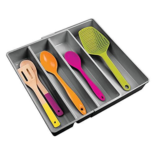 mDesign Porta posate con 4 scomparti – Organizer per posate e altri utensili, estraibile – Portaposate per cassetti in plastica, ideale per diversi utensili da cucina – grigio scuro