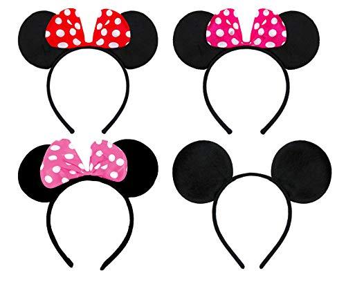 WENTS Haarreifen mit Maus Ohren und Schleife Damen Kinder Fasching 4 Stück