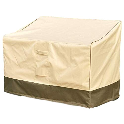 ZMYY 2 Seat Garden Bench Cover with Air Vent and Handles Heavy Duty Rip Proof 600D Oxford Fabric Outdoor Furniture Covers (C)