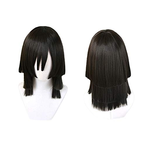 Anime Demon Slayer Kimetsu no Yaiba Iguro Obanai peluca negra Cosplay disfraz hombres mujeres pelucas de pelo sinttico resistentes al calor