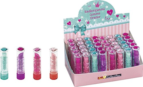 Brunnen 102988502 Radiergummi / Radierer Lipstick Fun Collection, 7 x 2 cm, mit Brillant-Topper, 4 verschiedene Farben)