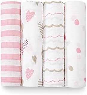 aden + anais Swaddle Blanket   Boutique Muslin Blankets for Girls & Boys   Baby Receiving Swaddles   Ideal Newborn & Infant Swaddling Set   Perfect Shower Gifts, 4 Pack, Heart Breaker