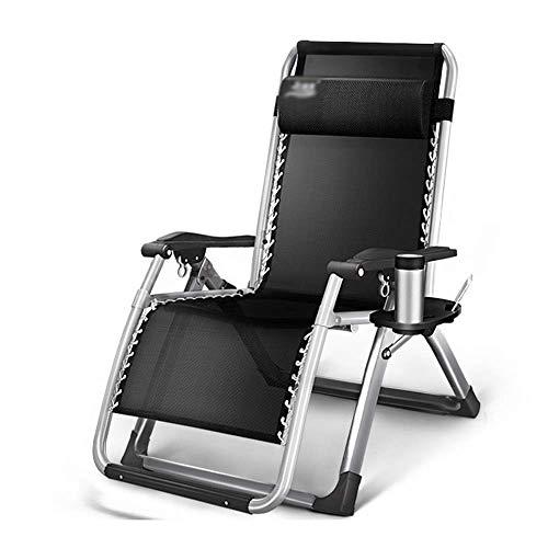 Folding ligstoel Opvouwbare Dekstoel Black Garden Lounge Chair Office Lunchpauze Nap Bed Outdoor ligstoel Beach Chair Portable Bearing Gewicht 200kg Thuis woonkamer fauteuil (Color : Black1)