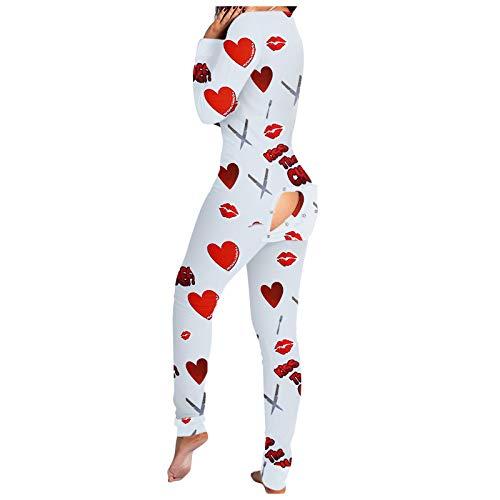 Xmiral Damen Tiefe V-Ausschnitt Hintern Klappe Pyjamas Onesie Lose Bodycon Bodysuit Langarm One Piece Jumpsuit Strampler(k-Rot,M)