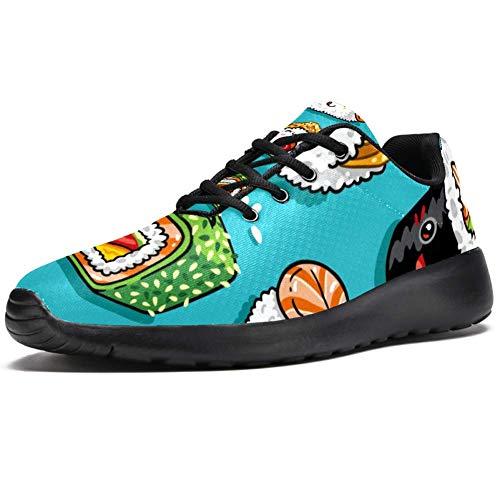 TIZORAX Laufschuhe für Herren, japanisches Essen, Sushi, modische Sneaker, Netzstoff, atmungsaktiv, Wandern, Tennisschuhe, Mehrfarbig - mehrfarbig - Größe: 45 EU