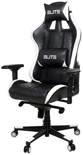 ELITE Premium Gaming Chair Respawn - Bürostuhl - Kunstleder - Ergonomisch - Racer – Drehstuhl –Stuhl – Chefsessel – Schreibtischstuhl (Schwarz/Weiß)