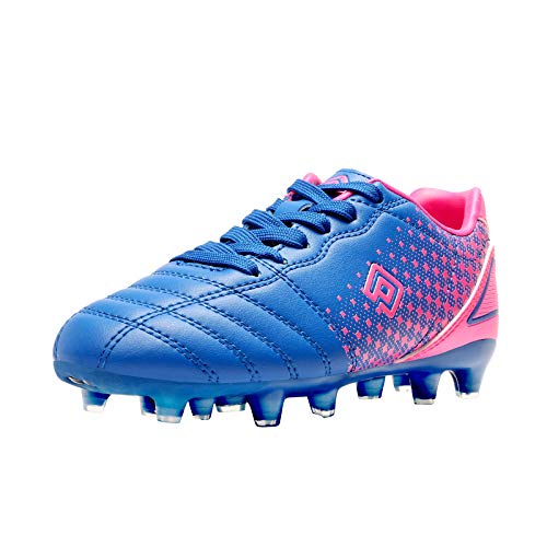 DREAM PAIRS Boys Girls SUPERFLIGHT-1K Outdoor Football Shoes Soccer Cleats Royal/Blue/Fuchsia Size 13 Little Kid