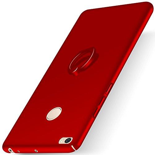 XMT Xiaomi Mi Max 2 6.44' Custodia,Ultra Sottile PC Back Case con Ring Stand Protettiva Custodia per Xiaomi Mi Max 2 Smartphone(Rosso)