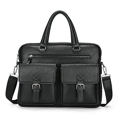 Yi-xir Bolso de piel para hombre, diseño de moda, con dos bolsillos, asa para portátil, ligero y duradero (color 8001B, negro, tamaño: A)