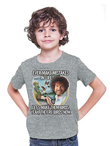 Teelocity Bob Ross Bird Meme Youth T-Shirt (Large, Athletic Heather)