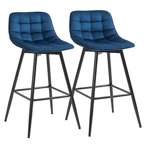 homcom Set 2 Sgabelli da Bar Sedie Imbottite per Salotto Stile Nordico, Rivestimento Velluto e Poggiapiedi, Blu, 45x47x88cm