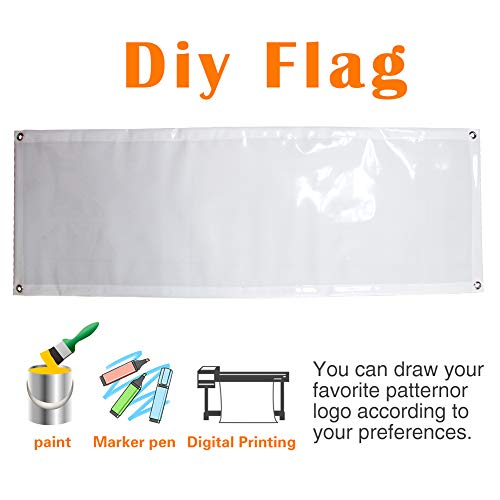 QSUM DIY Blank Custom Congratulations Banner, Reusable Handheld Portable Rolling Itself Up Pocket Banner– Great for Sports, Concerts, Cheer, Team Spirit (18 inch X 48 inch)
