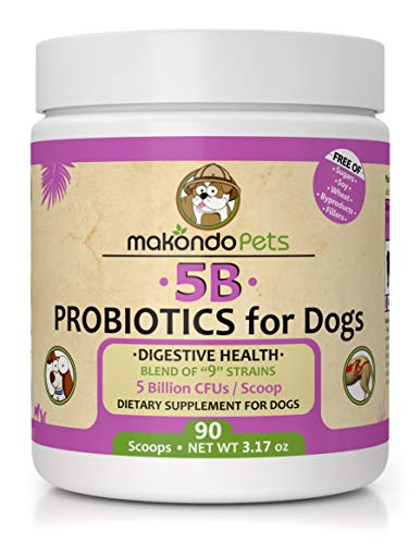 Makondo Pets Probiotics for Dogs & Puppies – Flavored, Made in USA, Extra Strength 9 Species Digestive Support Tummy Relief Enzyme Powder, 5 Billion CFUs per Scoop – 90 Scoops per Tub, 3.17 oz