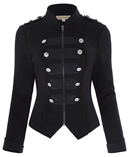 Womens Black Victorian Steampunk Military Jacket Blazer Black Size XS