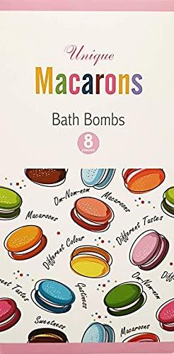 Unique Badebomben - [8er Set] Macarons Badekugeln als Geschenk für Frauen - Badezusatz in edler Geschenkbox - Bubble Bath mit spezieller Rezeptur für mehr Schaum - Wellness Geschenkset