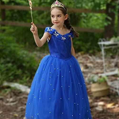 LALAmi Vestido de princesa de cuento de hadas con falda de encaje para niñas, disfraz de Halloween, fiesta de Navidad, vestido de escenario (130 cm)