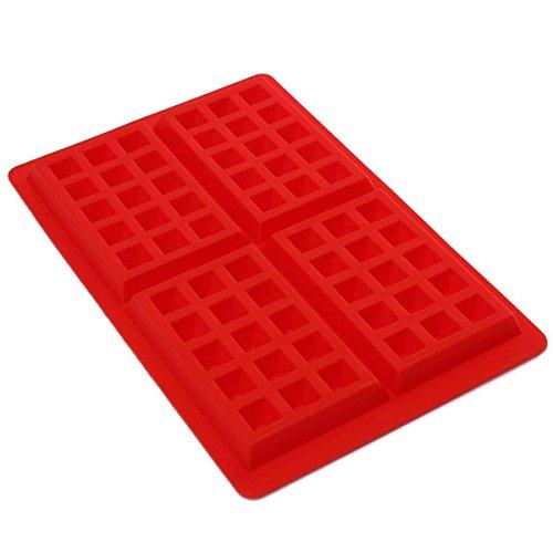 Kingso - Molde de silicona con 4 cavidades para gofres y pasteles, color rojo