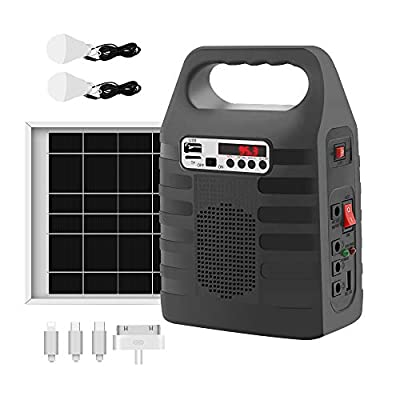 Portable Solar Generator with Solar Panel Solar Power Bank Generator Solar Powered Generators Kit for Home Emergency Backup Power Outdoor Camping With Flashlights MP3 Player, FM Radio LED Lights