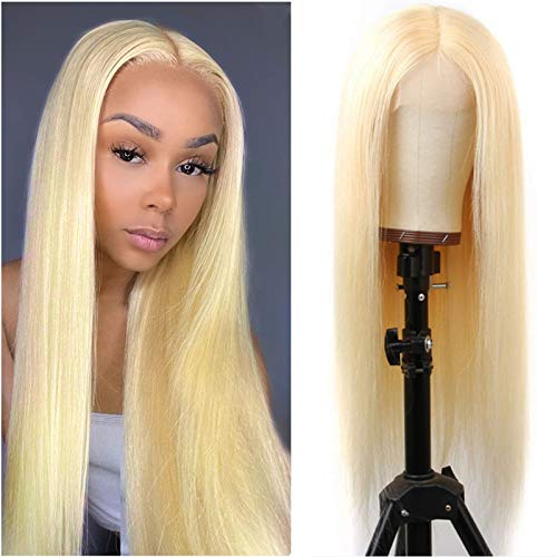 613 Blonde Lace Front Wig Human Hair Pre Plucked 13x5x1 T Part Lace Wigs Brazilian Straight Blonde Human Hair Wigs for Black Women (613 T-Type Lace Wigs,26Inch)
