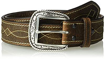 Ariat Men's Wave and Diamond Stitch Center Belt, brown, 40