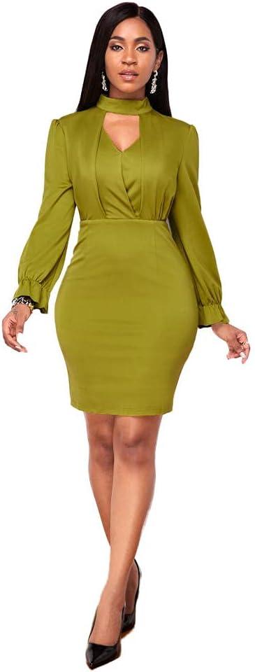 Women's Turtle Collar Sheath Bodycon Dress Church Office Work Business Career Fashion Pencil Dress-Green_M.