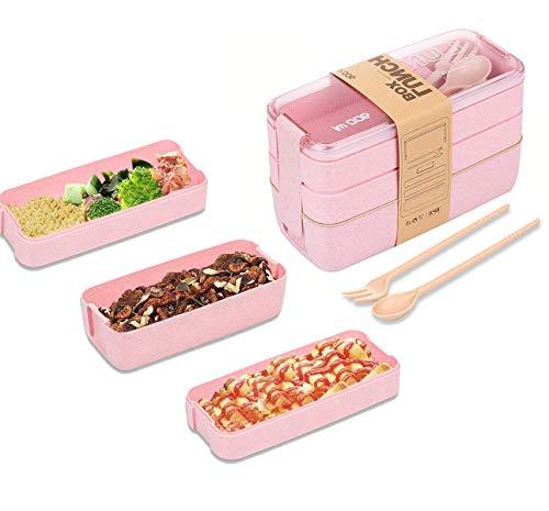 Lunchbox, Bento Boxen, Brotdose, Auslaufsichere Lunch-Boxen Kinder und Erwachsene, Bento Lunch Boxen mit Besteck, mikrowellen und spülmaschinenfest Lebensmittelbehälter BPA-frei(Rosa)
