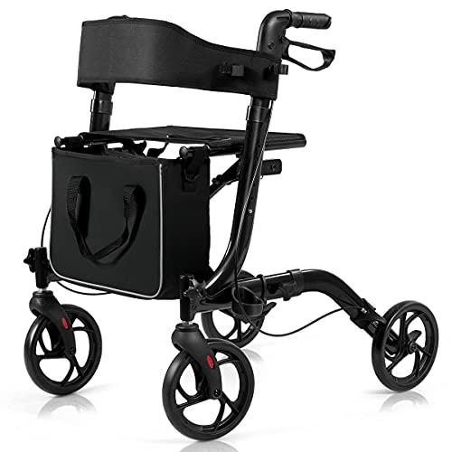 COSTWAY Folding Rollator, 4 Wheels Mobility Walker with Seat, Break,...