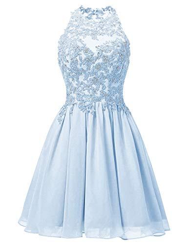 JAEDEN Ballkleider Hochzeitskleider Kurz Brautjungfernkleid Chiffon Spitze Neckholder Ice Blau EUR36