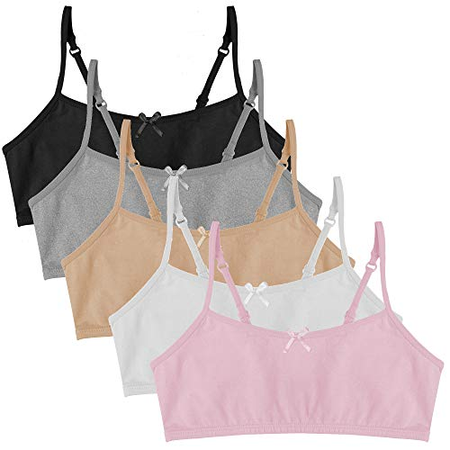Popular Girl's Cotton Cami Crop Bra with Adjustable Straps - 5 Pack - Neutrals - X-Large (14)