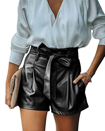 Maavoki Damen Mode Leder Kurze Hosen, Hoher Taille Lederhose mit Elastischer Bund, Lässige Leder Shorts Sexy Leather Hotpants (Schwarz, XL)