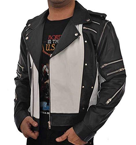 LP-FACON Michael World Tour 1984 - Chaqueta de cuero para hombre, diseño de moto con varias cremalleras, color blanco y negro