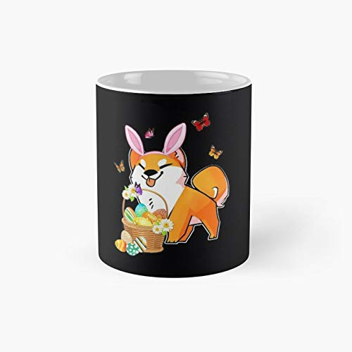 Taza clsica Akita Inu con orejas de conejo con huevos de Pascua para disfraz de conejo | El mejor regalo divertidas tazas de caf de 325 ml