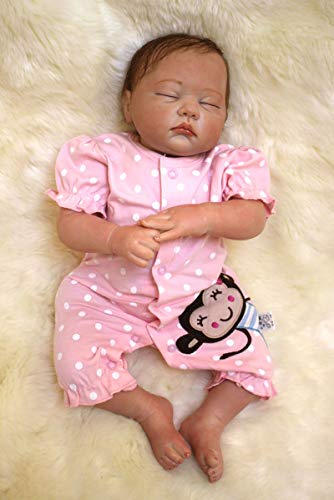 ZIYIUI Reborn Baby Girl 50 cm Lifelike Silicone Doll Girl Like a Real Baby Doll Magnetic Mouth Reborn Toddler