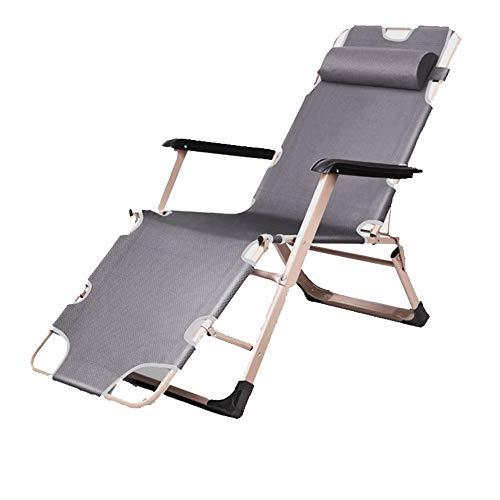 noyydh Silla Plegable Sillón reclinable Sofá Perezoso Cama for la Cama Oficina Exterior Silla Sencilla y cómoda Gris Estilo múltiple Ajustable 178 × 66 × 40cm (Size : A)