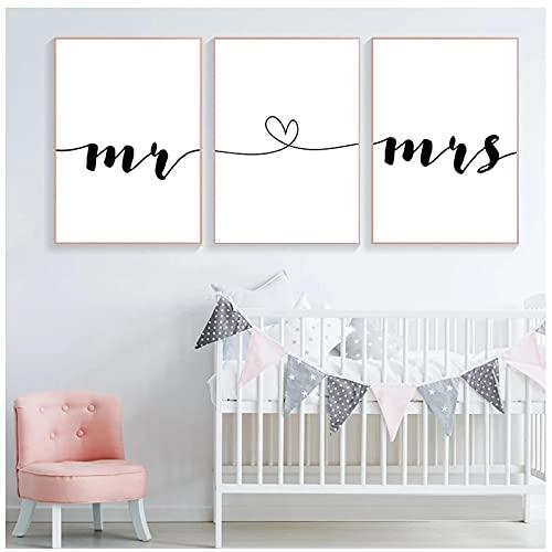 Mr Mrs Family Simple Wall Art Canvas Poster Print Pareja Aniversario Cuadro de Pintura para decoración de Sala de Estar - (50x70cm) x3pcsNoFrame