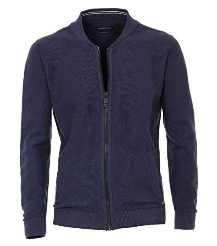 Casamoda, giacca a maglia da uomo, tinta unita, chiusura lampo di alta qualità Blu scuro medio XXXXXL