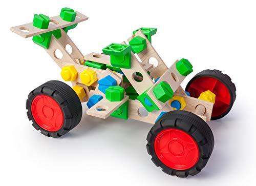 A ALEXANDER 2156 Constructor Junior 3 in 1 Set Buggy Fahrzeug Bausatz, 90 Teile Holzbaukasten Auto, Experimentierkasten mit Holz und Kunststoff Elementen, Konstruktionsspielzeug für Kinder ab 4 Jahren