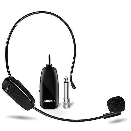 Wireless Microphone Headset, UHF Wireless Headset Mic System, 160 ft Range, Headset Mic and Handheld Mic 2 in 1, 1/8''&1/4'' Plug, for Speakers, Voice Amplifier, Pa System(Incompatible Phone, Laptop)