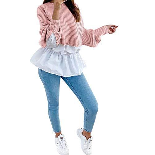 Otoño Mujer Moda Personalidad Patchwork Color de Contraste Blusa Vintage Todo fósforo Manga Larga Dobladillo...