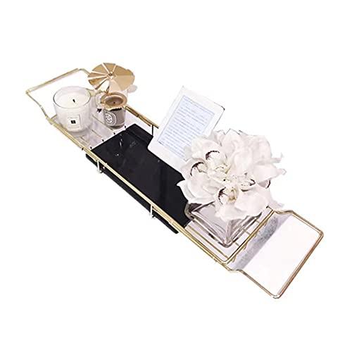 LQX Uitschuifbare badkuip Caddy-lade - 304 roestvrij staal boven badkuiprekje Douche-organizer, met uitschuifbare zijkanten wijnglashouders en boekenrek, geschikt voor 55-91 cm brede badkuipen