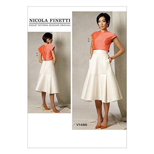 Vogue Damen Schnittmuster 1486Crop Top & Rock ausgestellt Joch + Gratis Minerva Crafts Craft Guide