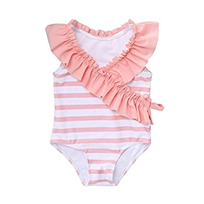 Toddler Baby Girl Swimsuit Ruffled Stripe Bikini Tankini Infant Swimwear Cute One Piece Bathing Suit for Girls 18-24 Months (Os-Pink)
