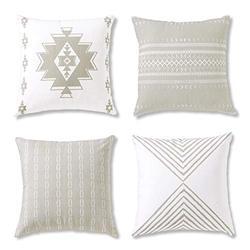 decorative pillows Boho Throw Pillows or Decorative Cushion Covers for Couch, Sofa, Bedroom Bohemian Set of 4 18X18 Modern Geometric Pillow Case for Home Decor or Farmhouse, 100% Cotton, Reef Set, Grey