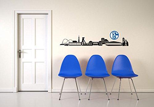 Wall-Art - Wandtattoo, Aufkleber - Schalke 04 Skyline schwarz mit Logo farbig - 120x19 cm, Logo 18 cm Breite - Art. Nr. S04-10051