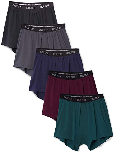 Bolter Men's 5-Pack Cotton Stretch Boxers Shorts (Large, Winter)