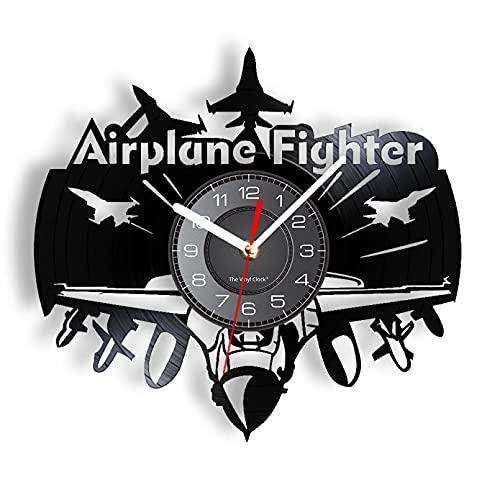 XYVXJ Reloj de Pared con Disco de Vinilo de piloto de Caza de avión, Reloj de Pared de aviación de Oficina, Reloj de Arte de Pared de Aviador, Manualidades de Disco de Vinilo de la Fuerza Aérea