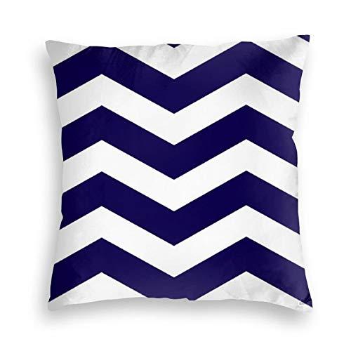 Federa per cuscino in morbido velluto quadrato decorativo moderno a righe a zigzag in blu cobalto e bianco, per casa colonica, divano, letto, auto, ufficio, bambini, interni ed esterni, 45,4 x 45,7 cm