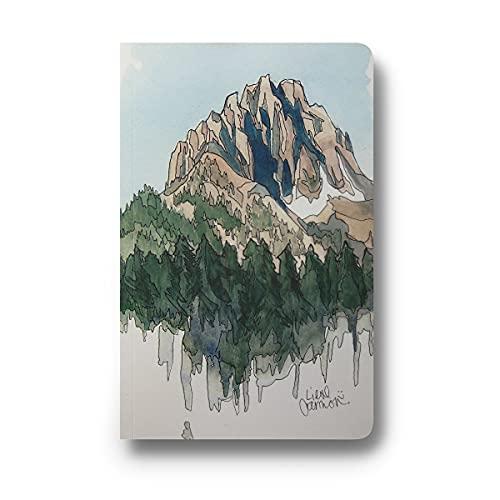 DENIK, Tagebuch, Softcover, Layflat Journal, 13,3 x 21 cm, Schreib-Notizbuch mit 144 linierten Seiten, Motiv: Berge