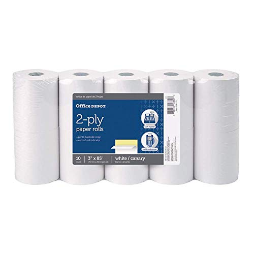Office Depot 2-Ply Paper Rolls, 3in. x 85ft, Canary/White, Pack of 10, 109275